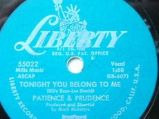 PATIENCE & PRUDENCE - TONIGHT YOU BELONG TO ME